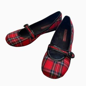 Hot Kiss Y2K Red Plaid Mary Jane Flats Shoes
